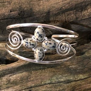 Natural Dalmatian Jasper set in a silver cuff